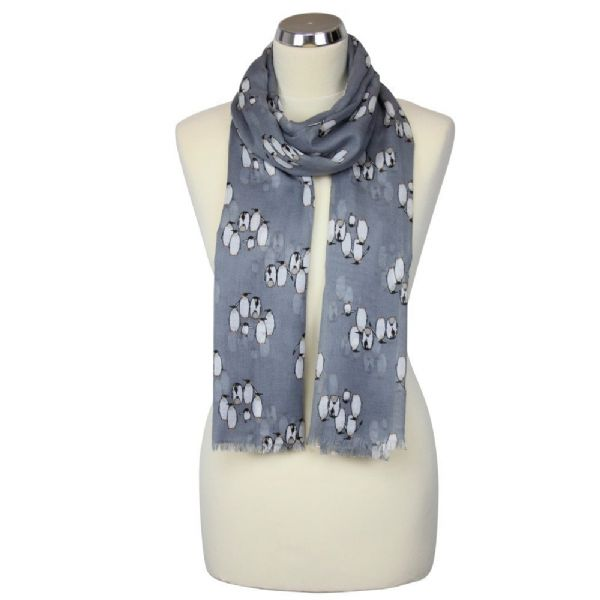 Grey lightweight scarf with penguin pattern